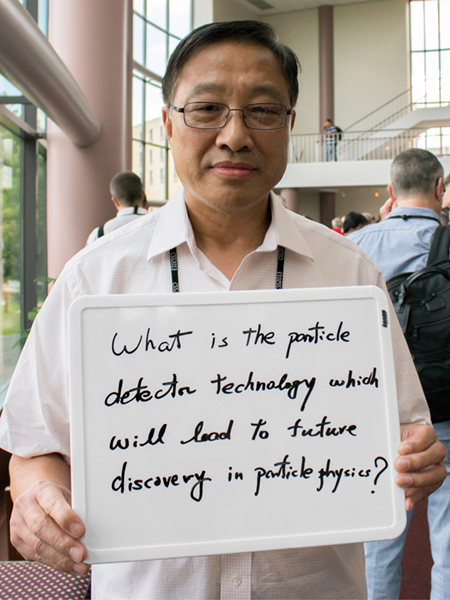 "Photo of Ren-Yuan Zhu ""What is the particle detector technology which will lead to a future discovery of particle physics?"""