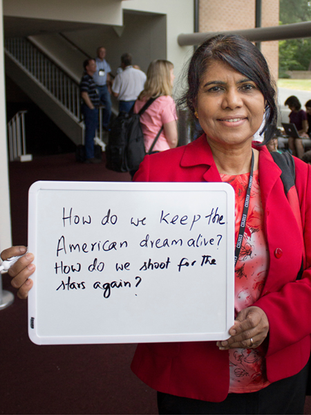 "Photo of Pushpa Bhat ""How do we keep the American dream alive? How do we shoot for the stars again?"""