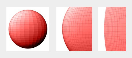 Triptych of sphere, zoomed in sphere, further zoomed in sphere