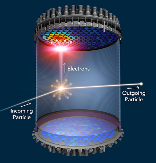 Illustration showing a dark matter particle interacting inside the LZ detector.