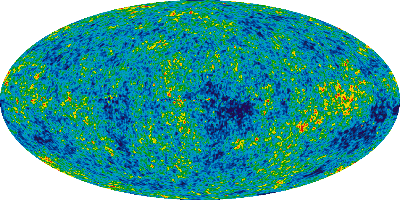 Image of patches of green, blue, yellow, and red make up the CMB map by WMAP