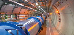 Magnets installed in the tunnel of CERN's Large Hadron Collider