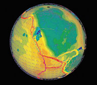 This image was created using the GEON IDV (Interactive Data Viewer). It shows S-wave tomography models, GPS vectors and the Global Strain Rate Map