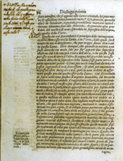 This page shows a new sentence by Simplicio to go before a long paragraph by Salviati, again written by Galileo.