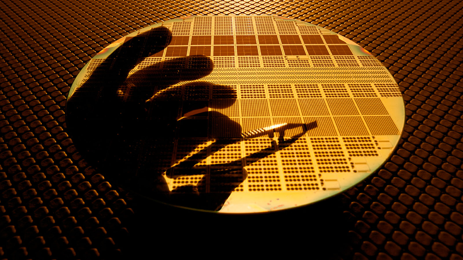 Photo of persons hand on a single silicon wafer