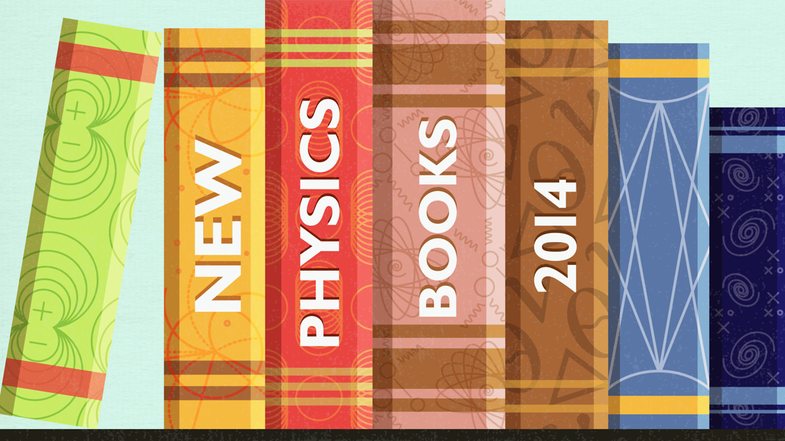 "Illustration of books on shelf ""New physics books 2014"""