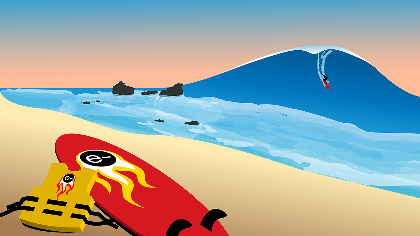 Illustration of beach with surf board, life vest, and person surfing on large blue wave in background