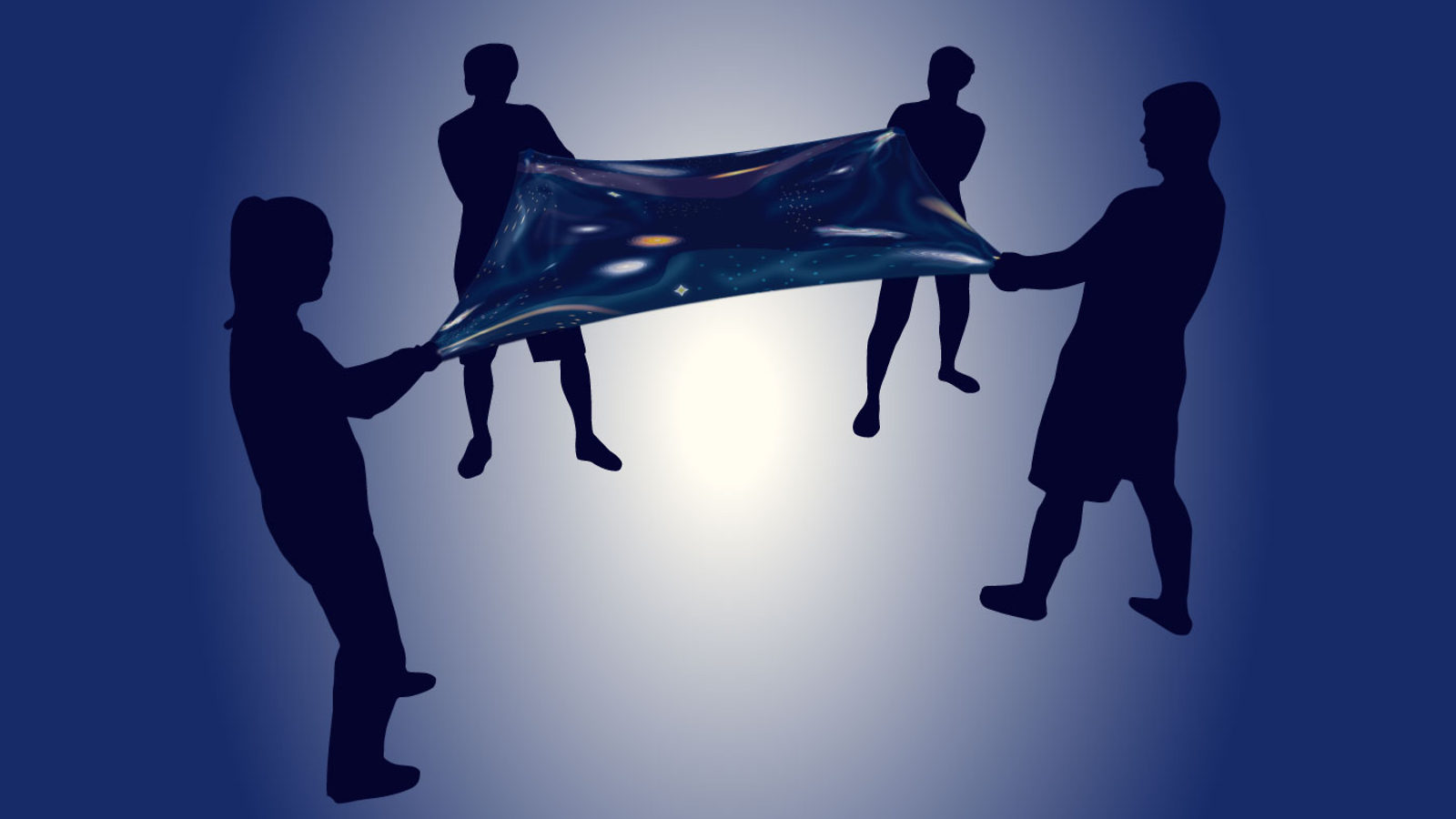 Illustration of four people holding four corner of a dark energy blanket