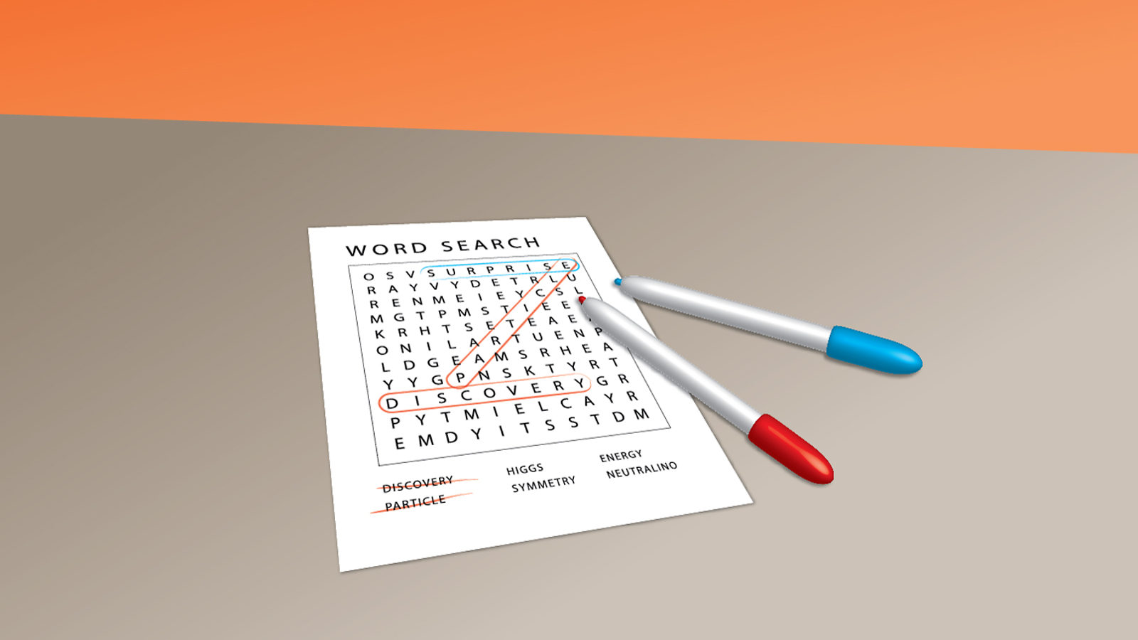 Illustration of word search paper with red and blue pens laying on top of paper