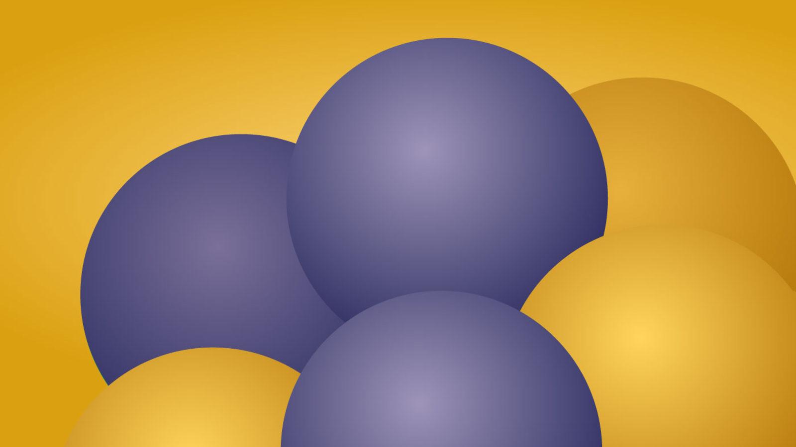Image of the yellow and blue E=mc2 balls