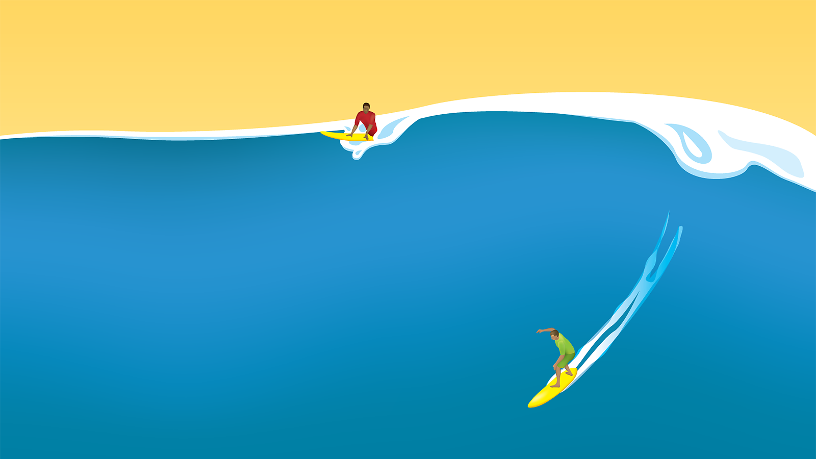 Illustration of surfers on a large wave