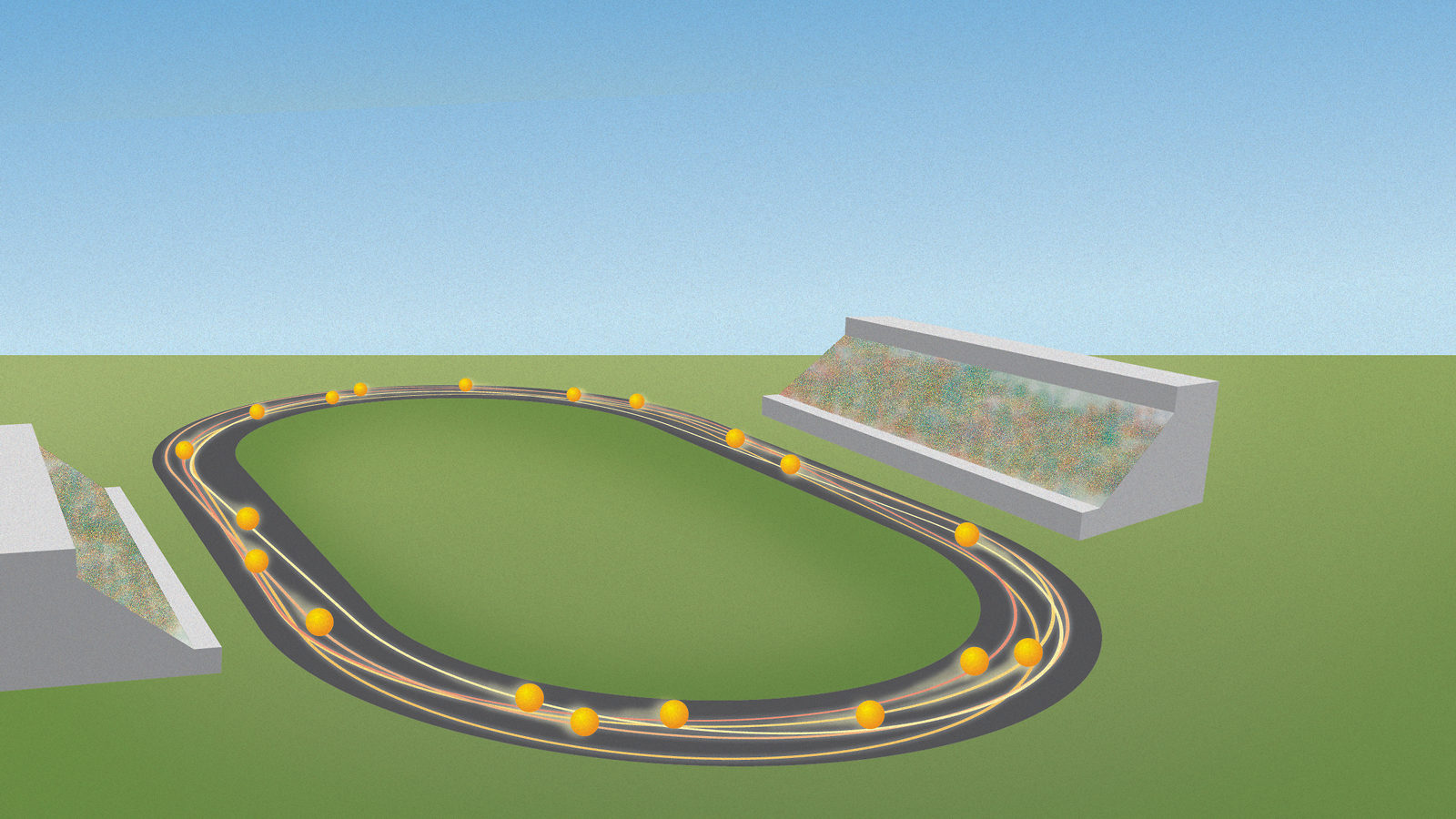 An illustration of particles racing around a track