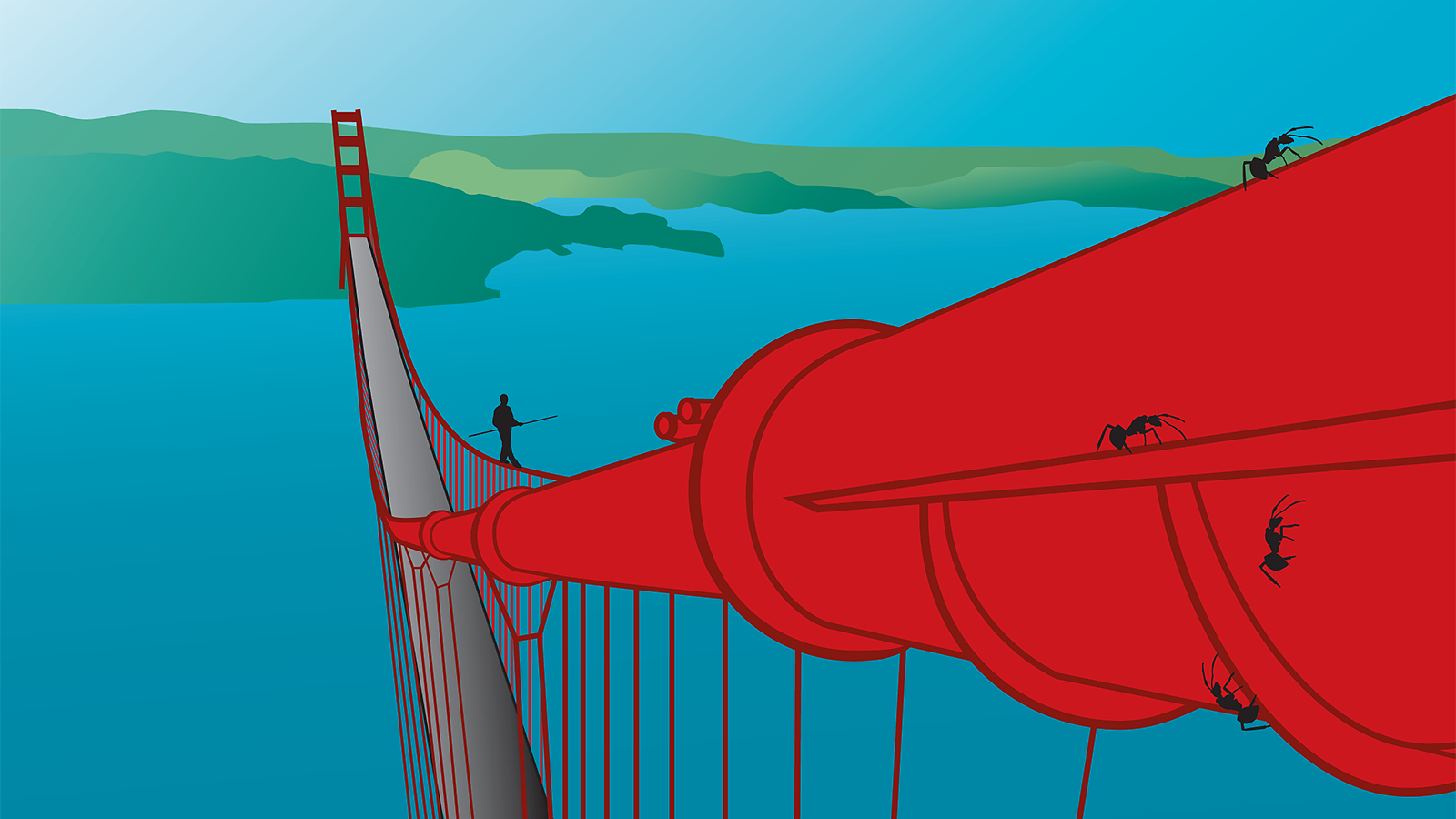 Illustration of a man tightrope walking the Golden Gate Bridge and ants walking around the cable