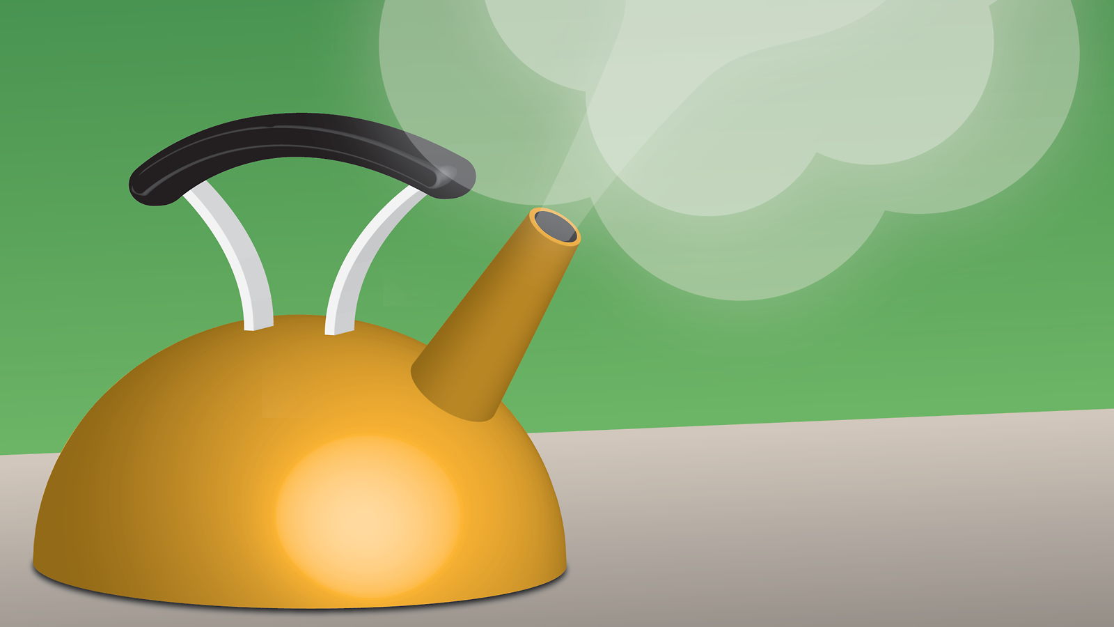 An illustration of a teapot letting off steam