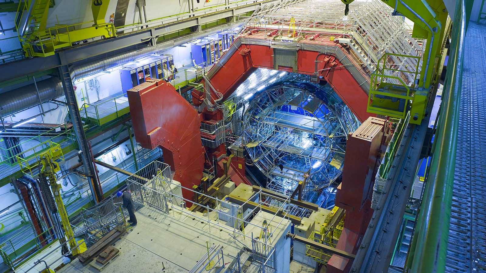 ALICE detector with its red doors open