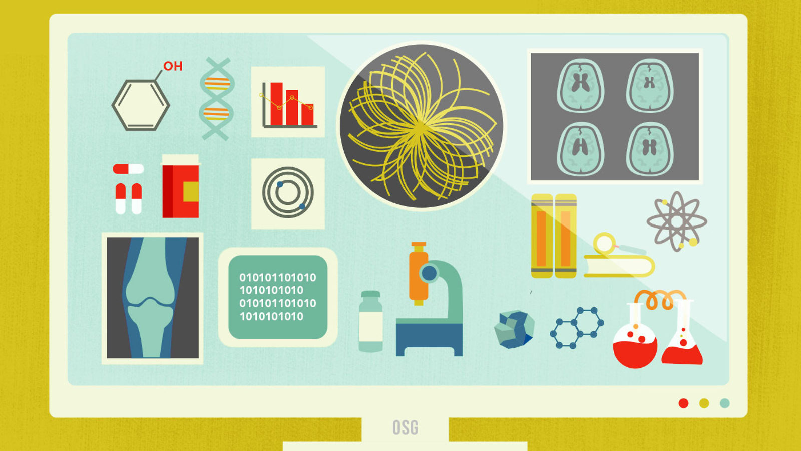 Illustration of computer monitor with Higgs Boson, medical equipment, X-rays, pills, beakers and Apps OSG