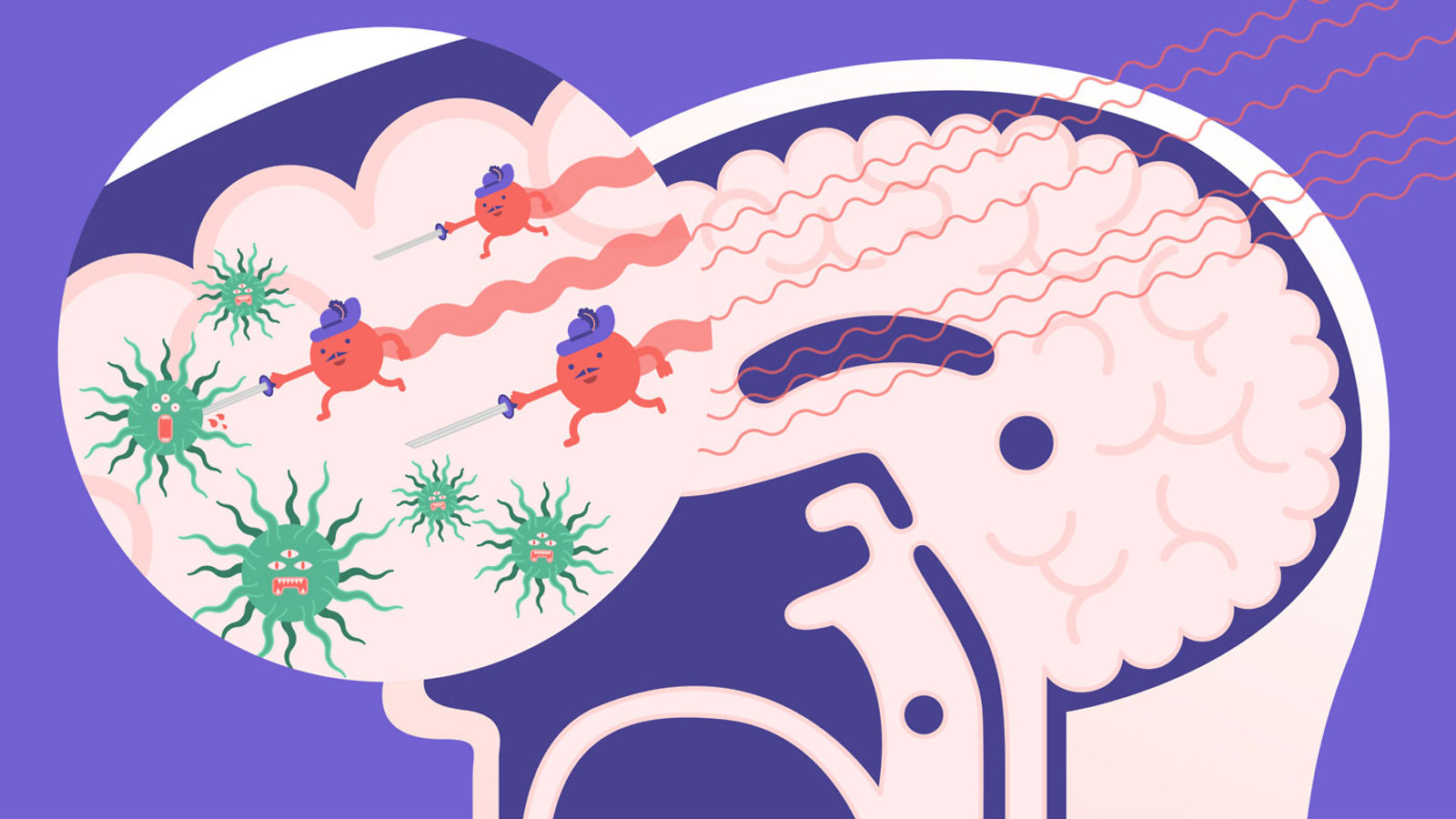 Illustration of particles fighting bacteria in someones brain