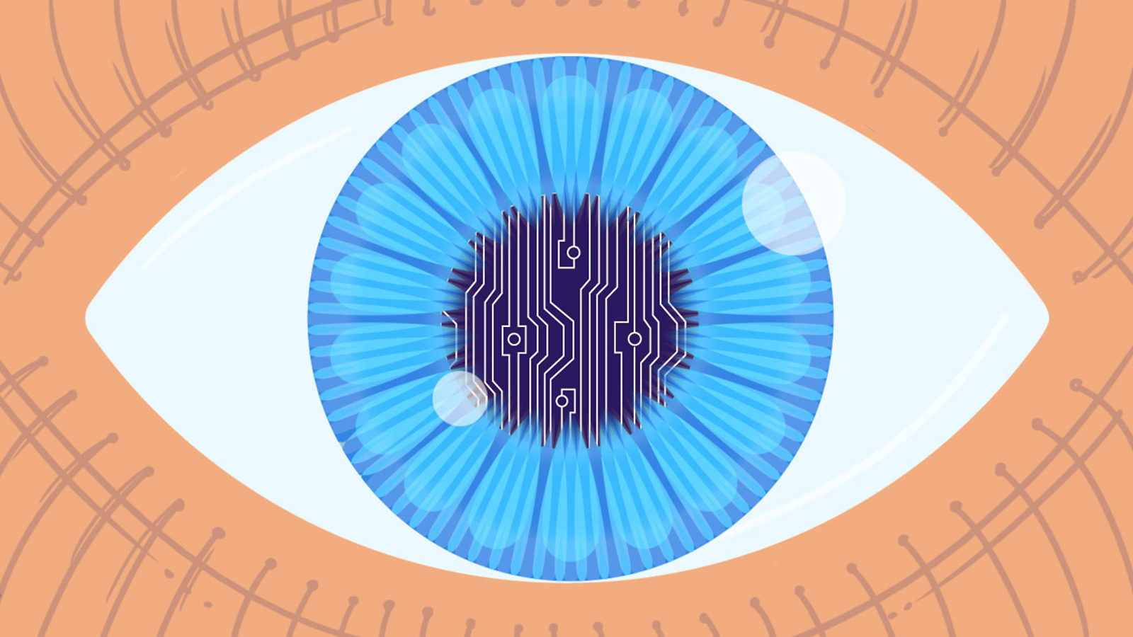 Illustration of eye with circuit board inside pupil