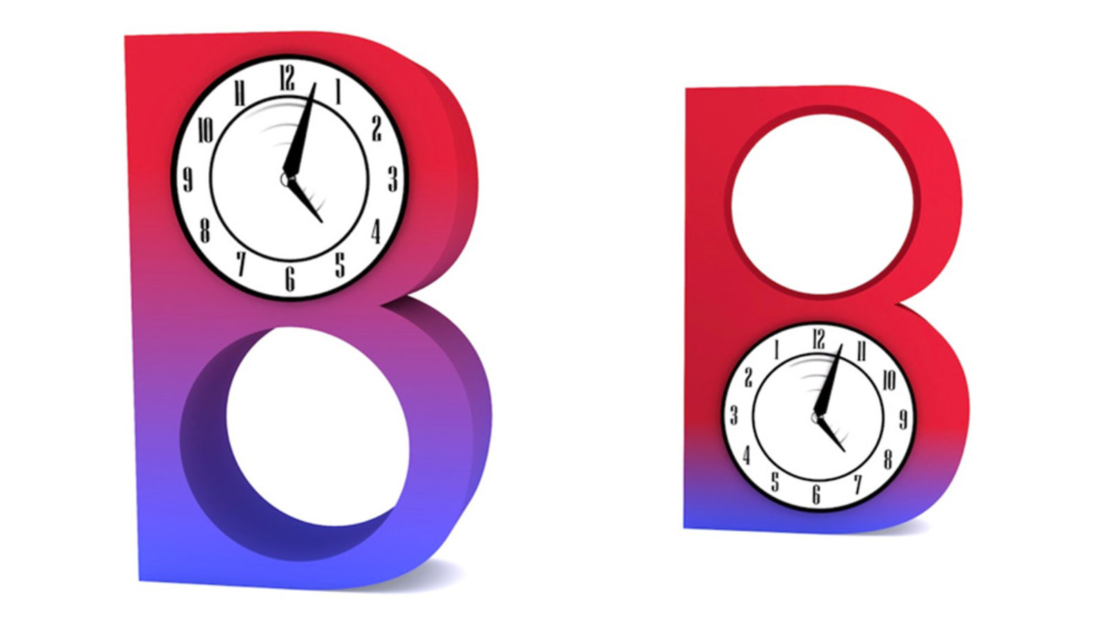 """Illustration of """"BB"""" red and blue gradient with clocks inside letterforms"""