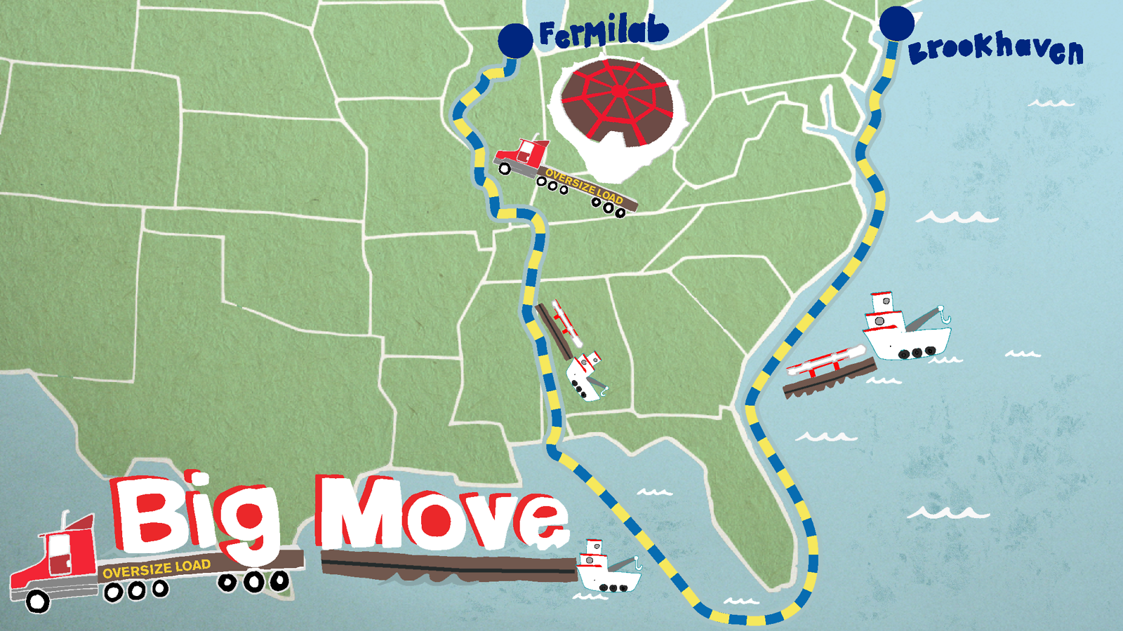 "Illustration of US Map showing the Muon detector: ""Big Move Fermilab"""