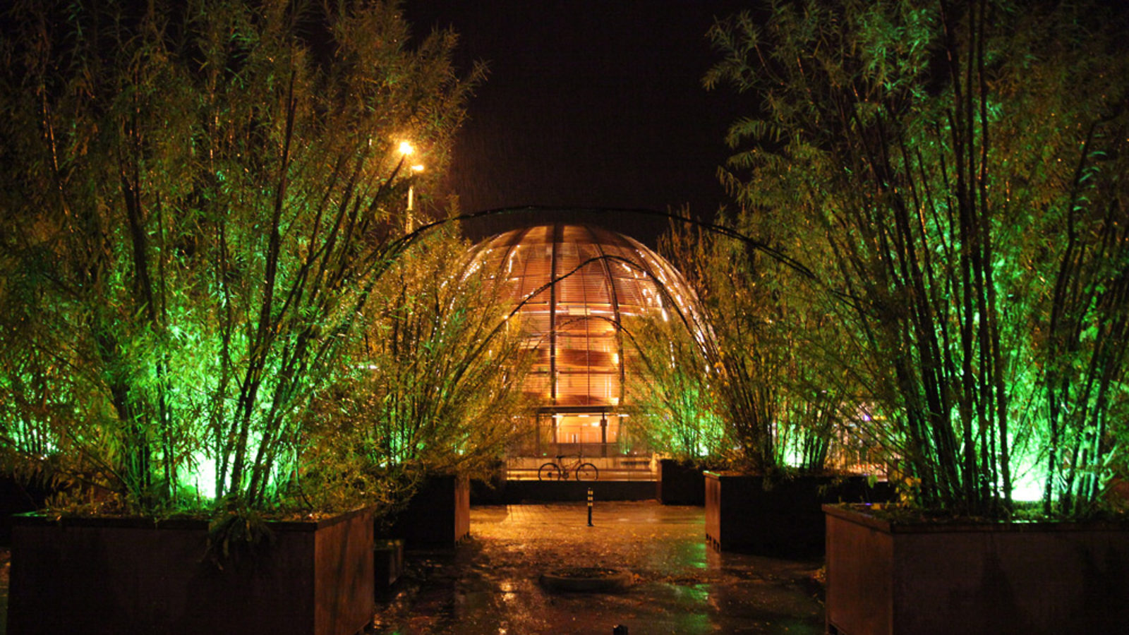 Photo of CERN Globe at night