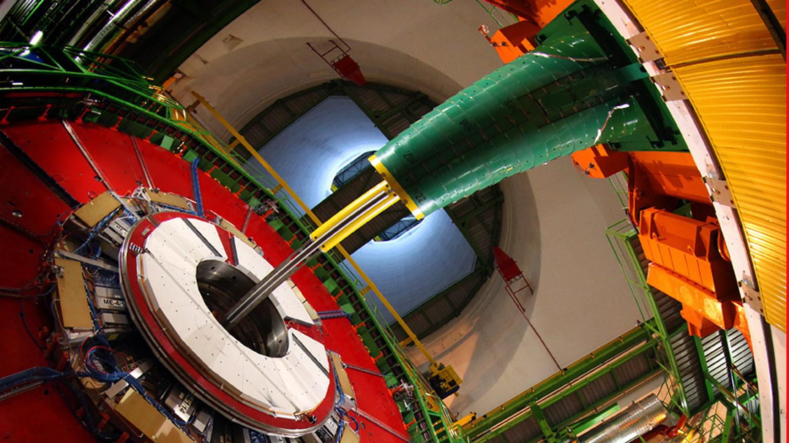 Photo of CMS detector below