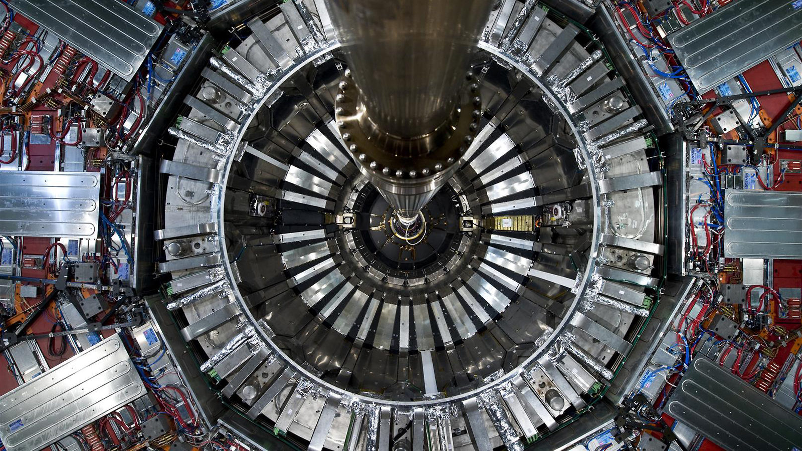 Photo of CMS detector from below