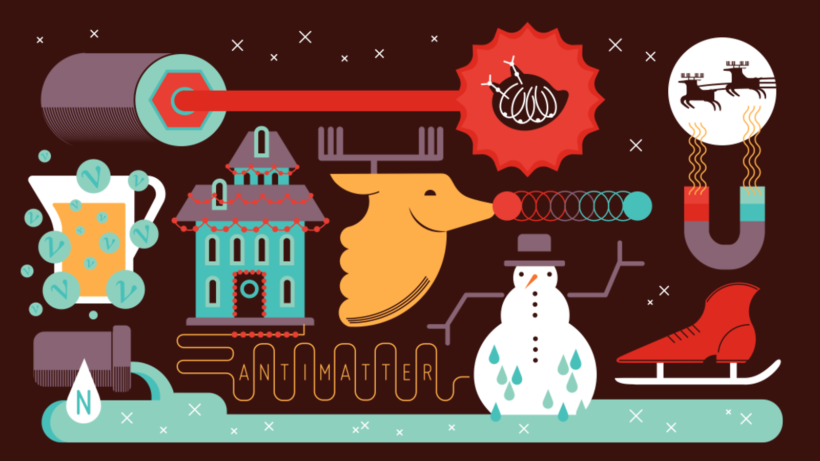 Illustration of Holidays at physics lab
