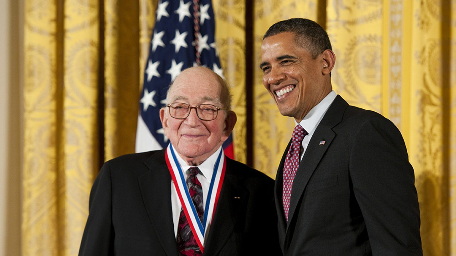 Photo of 2011 National Medal Drell: Sidney Drell receives the National Medal of Science from President Obama
