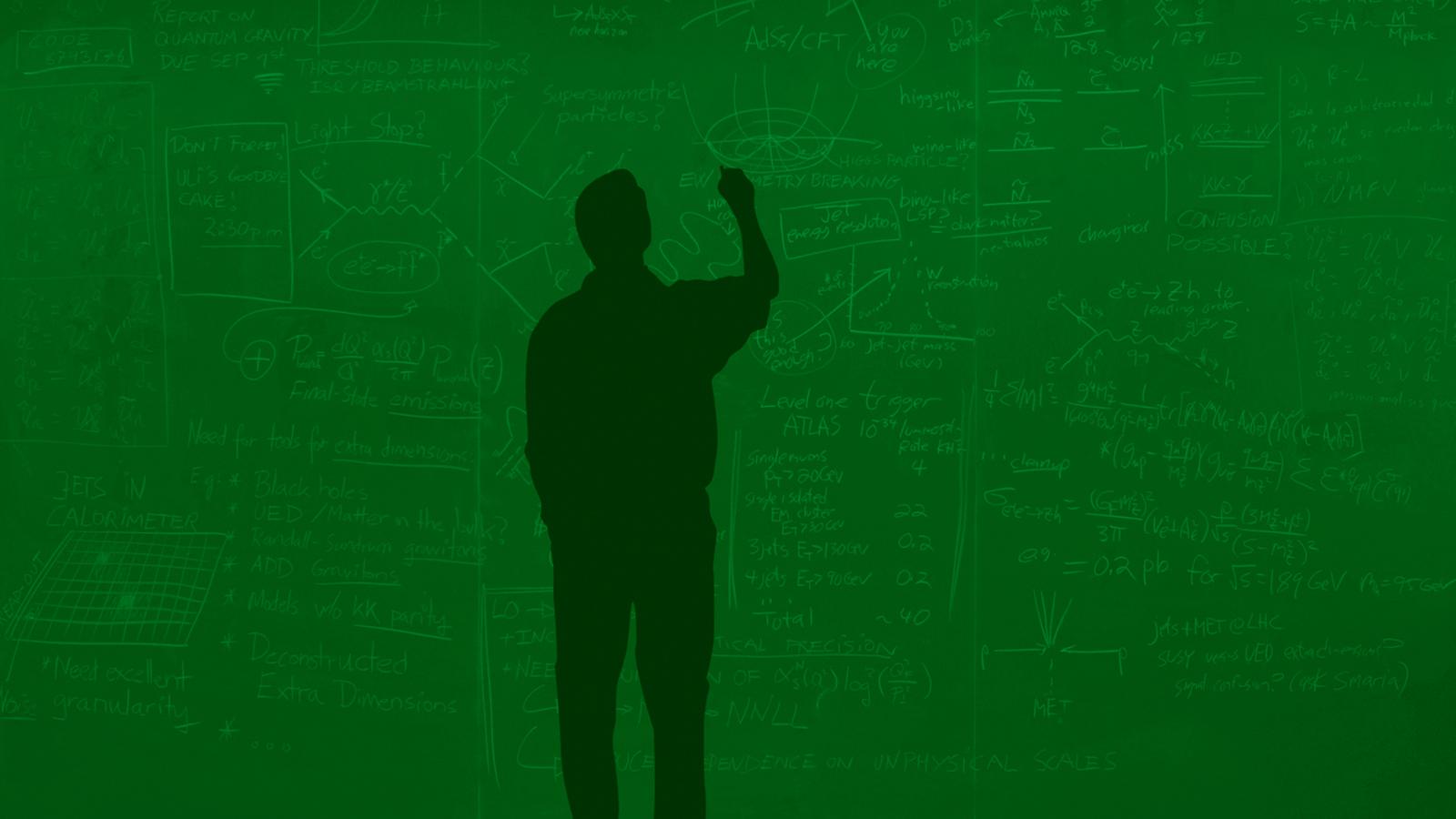 Illustration of figure of man at a supersymmetry blackboard