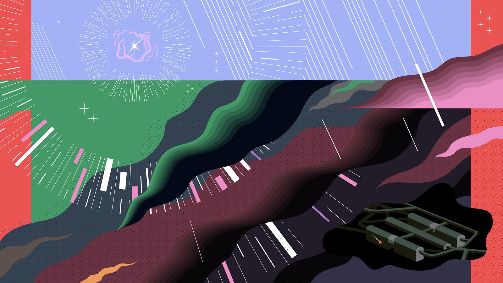 Illustration for engineering of Deep Underground Neutrino Experiment (red, pink, blue, green, burgandy, navy, grey)