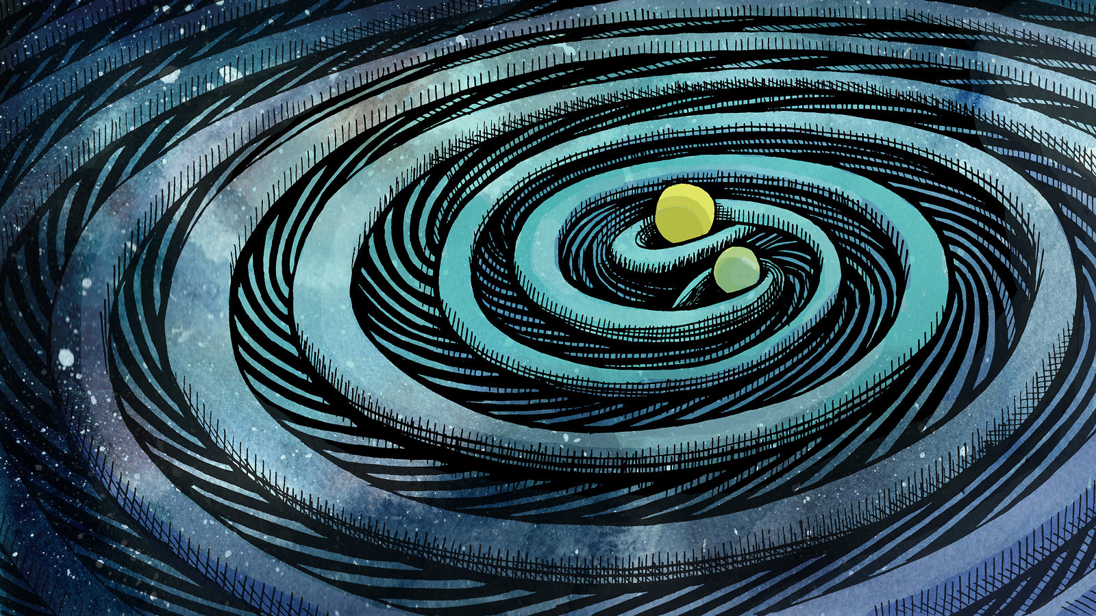 Illustration depicting two black holes circling one another and producing gravitational waves