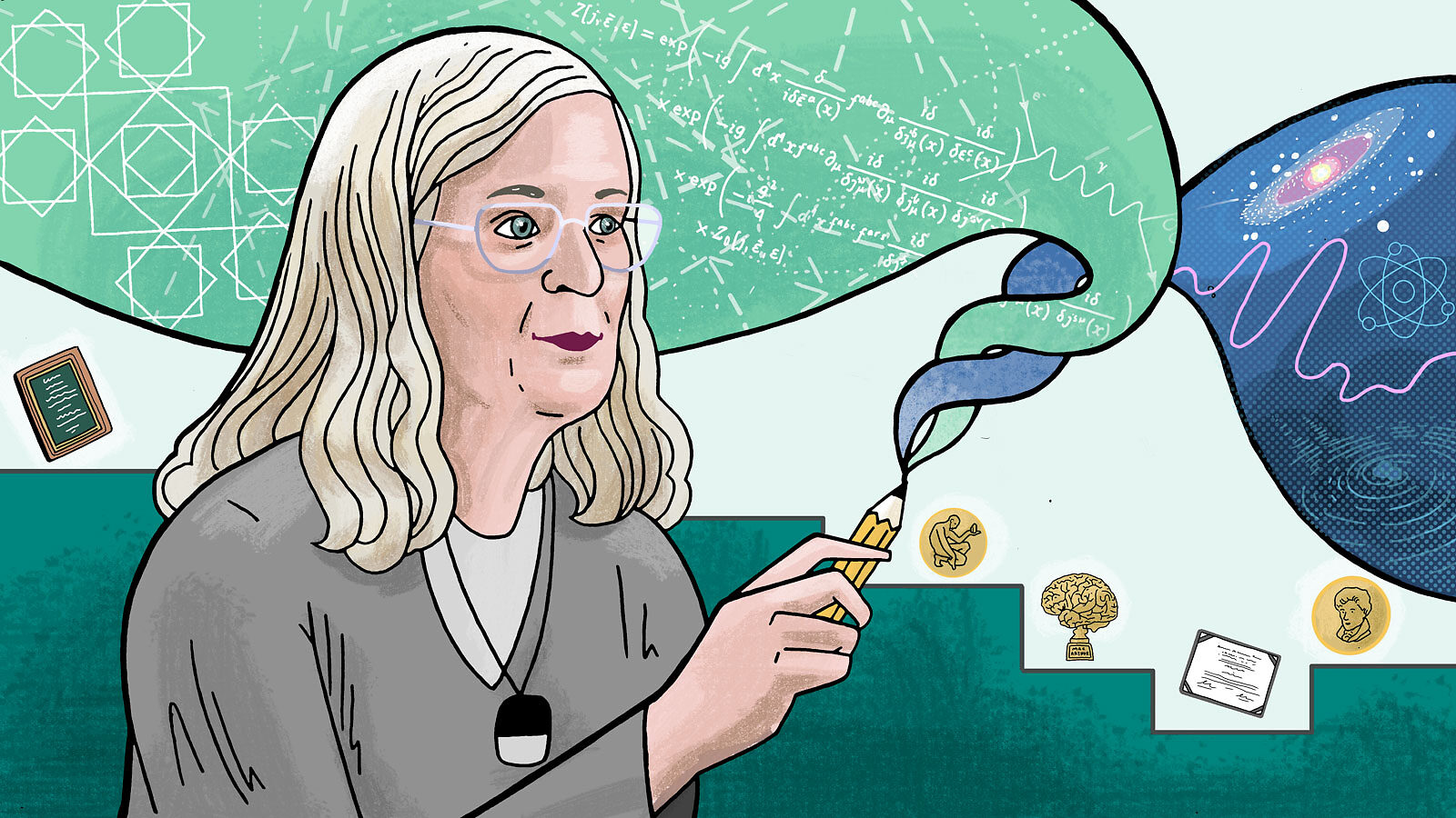 An illustration of Karen Uhlenbeck