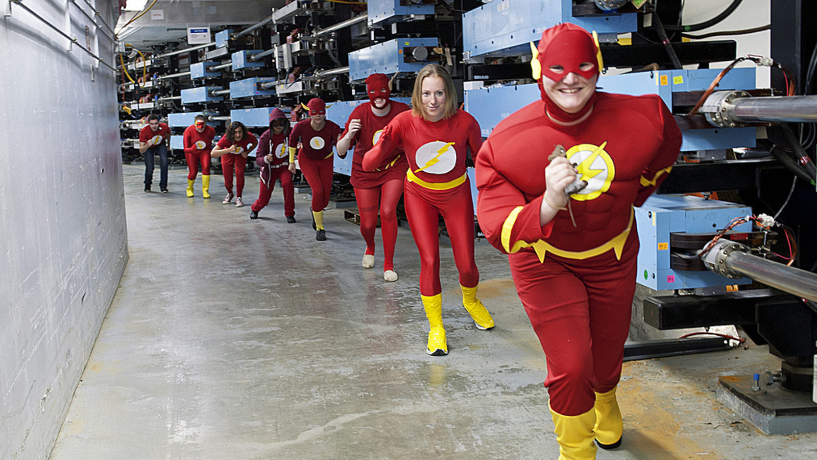 Photo of group of kids dressed as the Flash in a line: GISHWHES