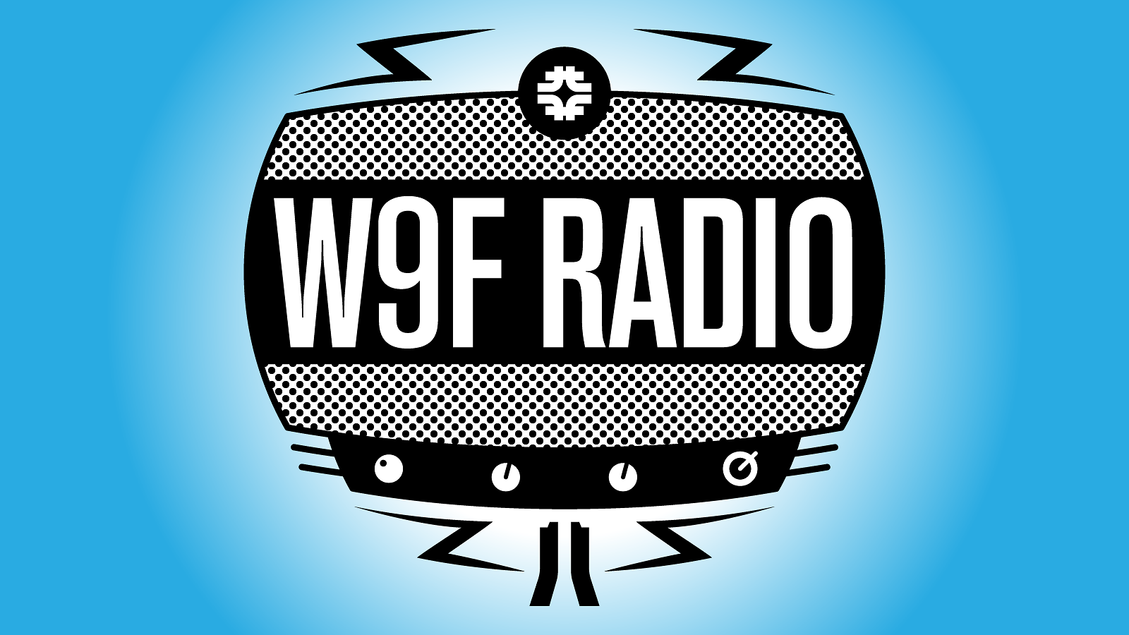 Illustration of black and white W9F RADIO graphic on blue background
