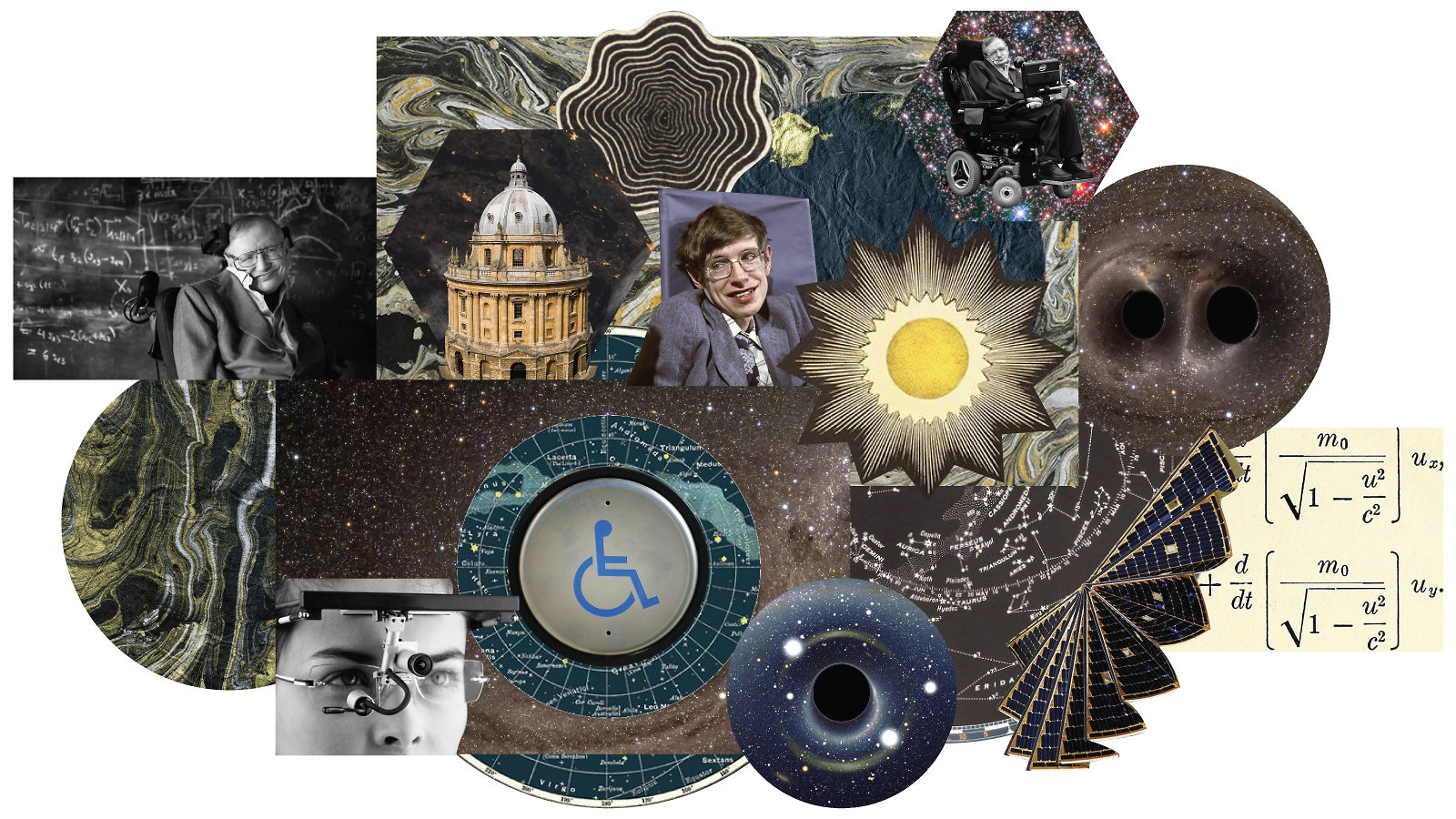 Collage of Stephen Hawking including: Oxford university, eye tracker, gravitational waves, equations, and a disability symbol