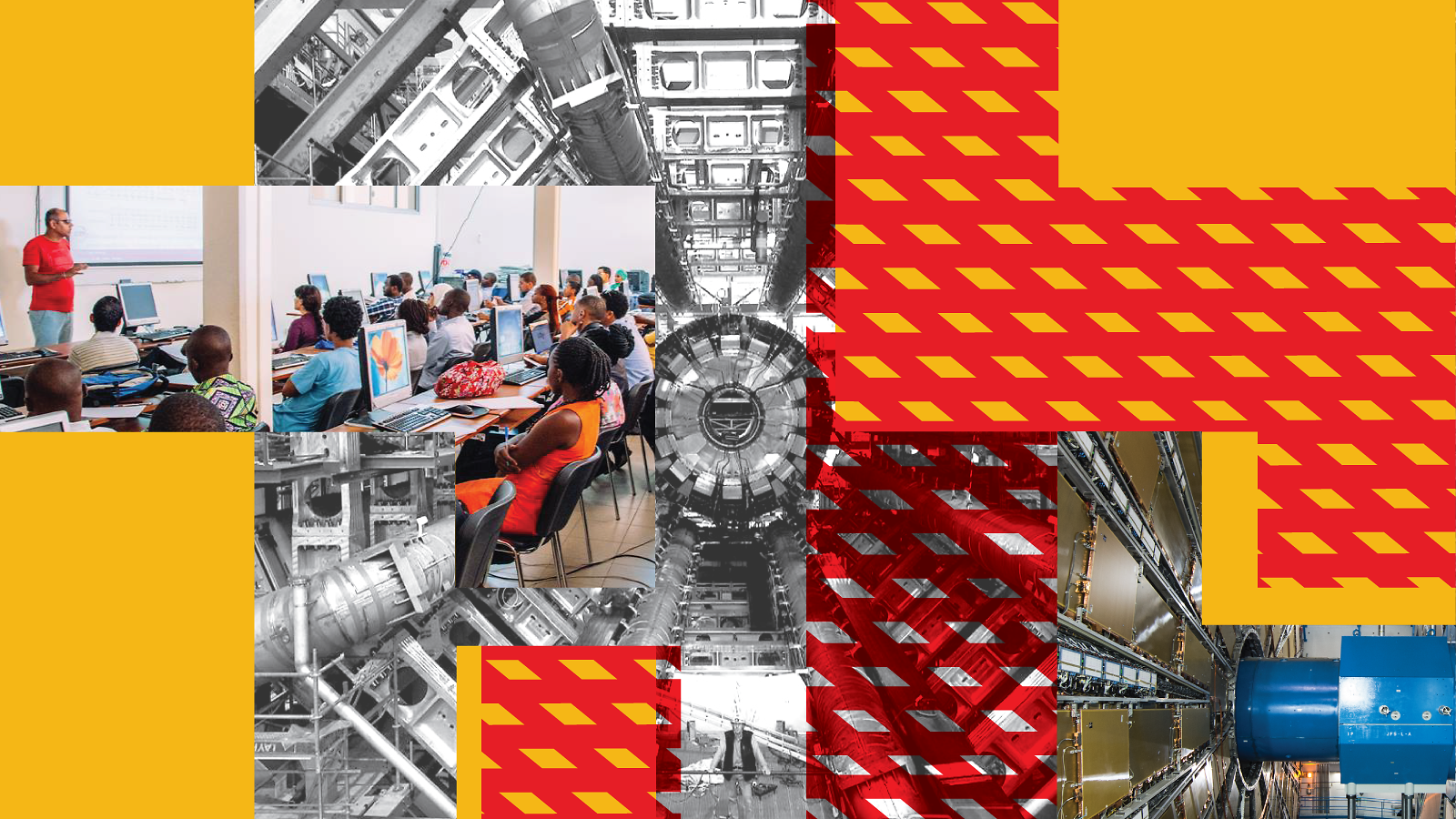 Yellow and red collage of ATLAS machine and students in classroom