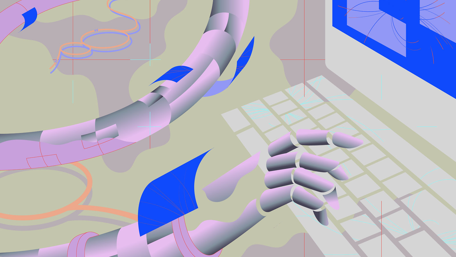 An illustration of robot hands typing on a computer