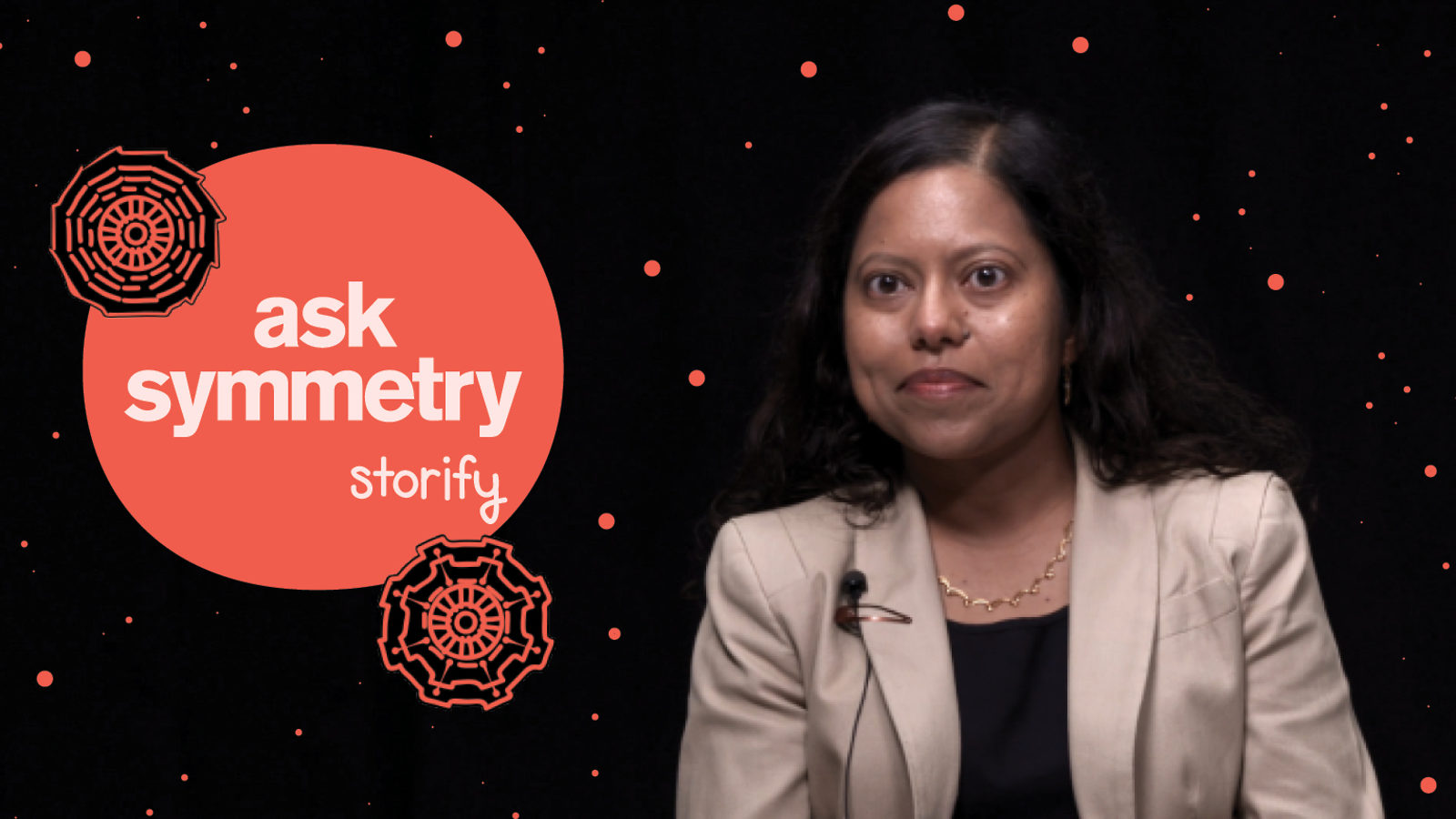 "Freeze frame of physicist Tulika Bose with ""Ask Symmetry Storify"" graphic"