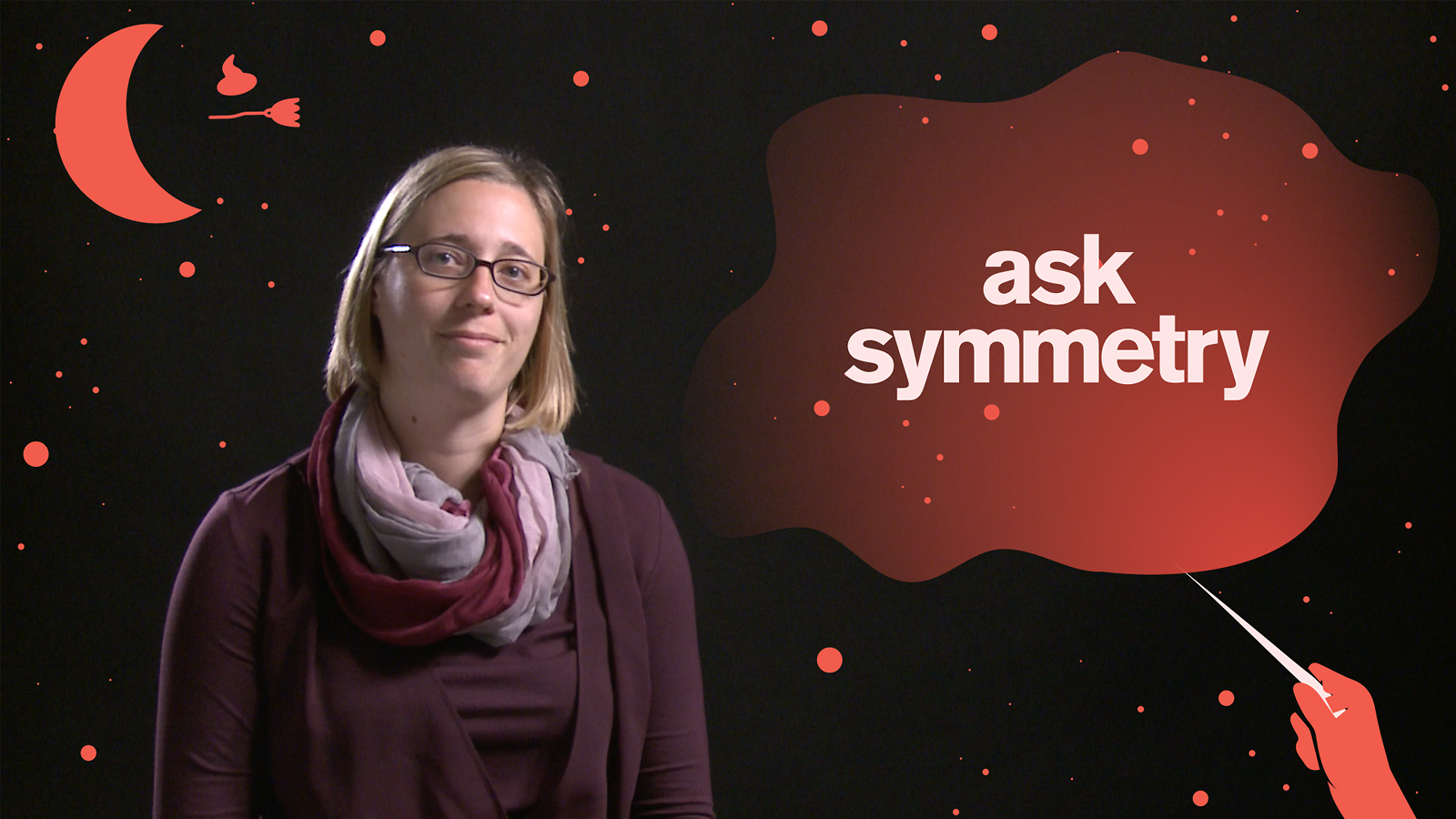 "Scientist Anne Schukraft surrounded by Harry Potter-inspired imagery and the phrase ""Ask Symmetry"""