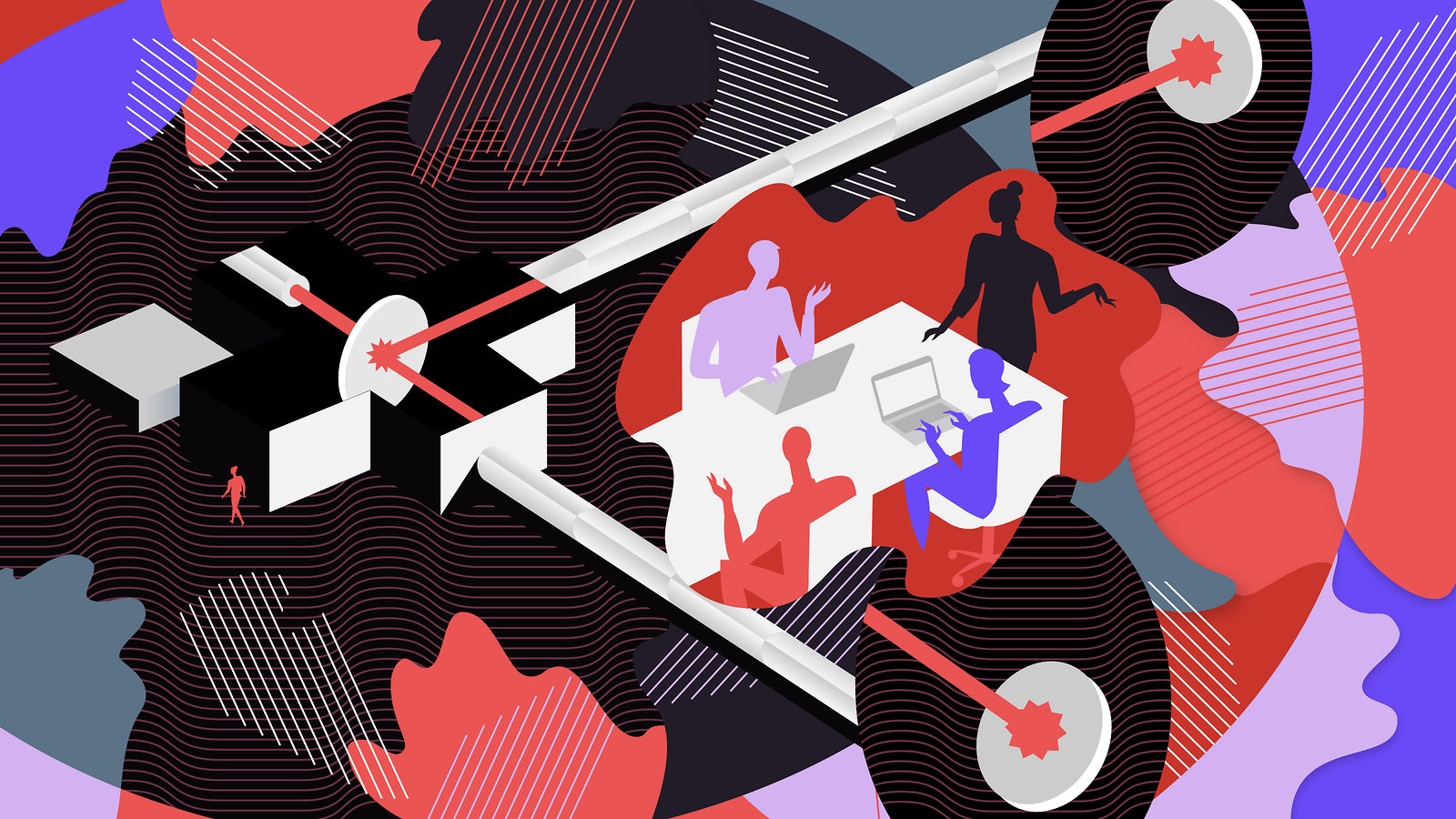 Illustration of scientists discussing the LIGO experiment in center of field of red, blue, purple, and black shapes and lines
