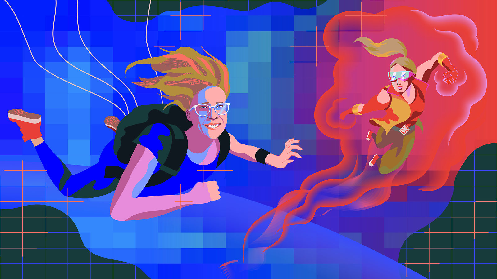 An illustration of Becky Thompson skydiving next to Spectra
