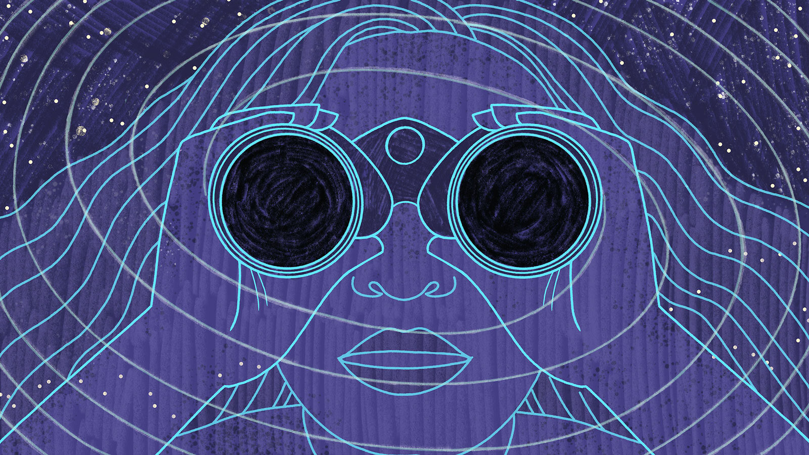 Illustration of a woman looking through binoculars with black holes as lenses