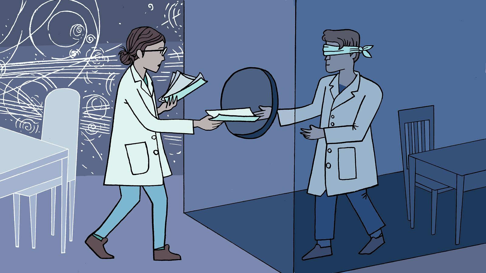 Illustration of a scientist handing papers to another, blindfolded scientist