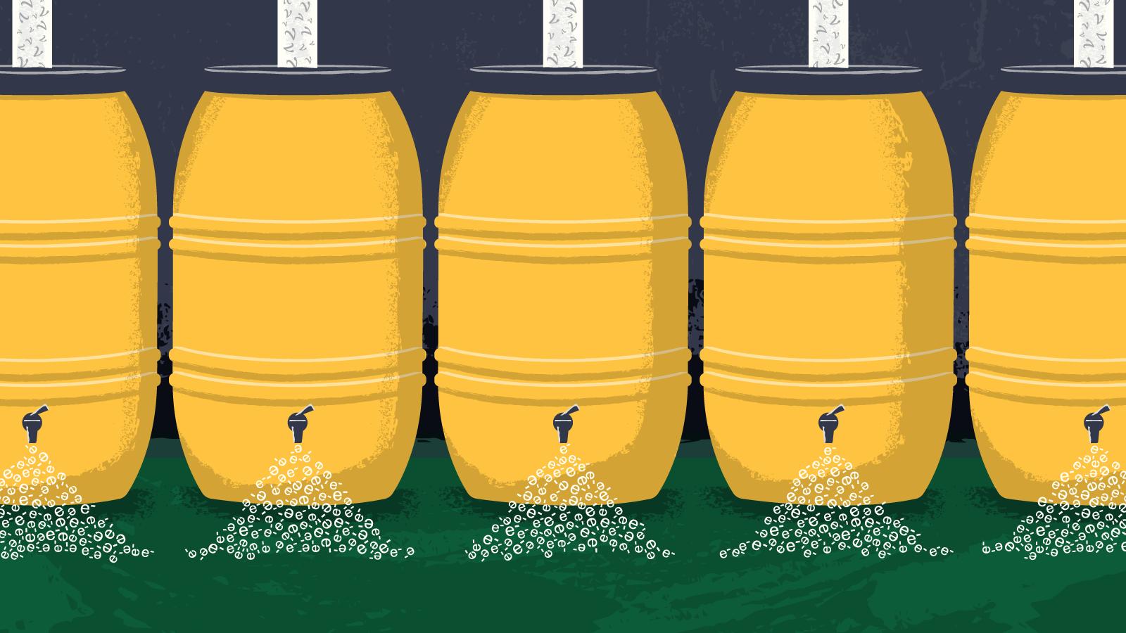 Illustration of rain barrels collecting particles