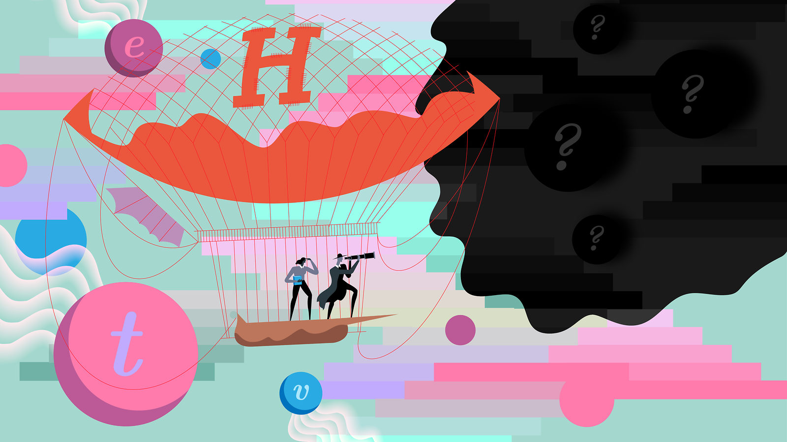 "Illustration of Higgs dirigible entering ""dark sector"""