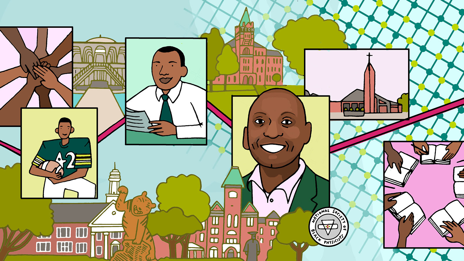 An illustration demonstrating many of the important facets of the life of Dr. Willie Rockward