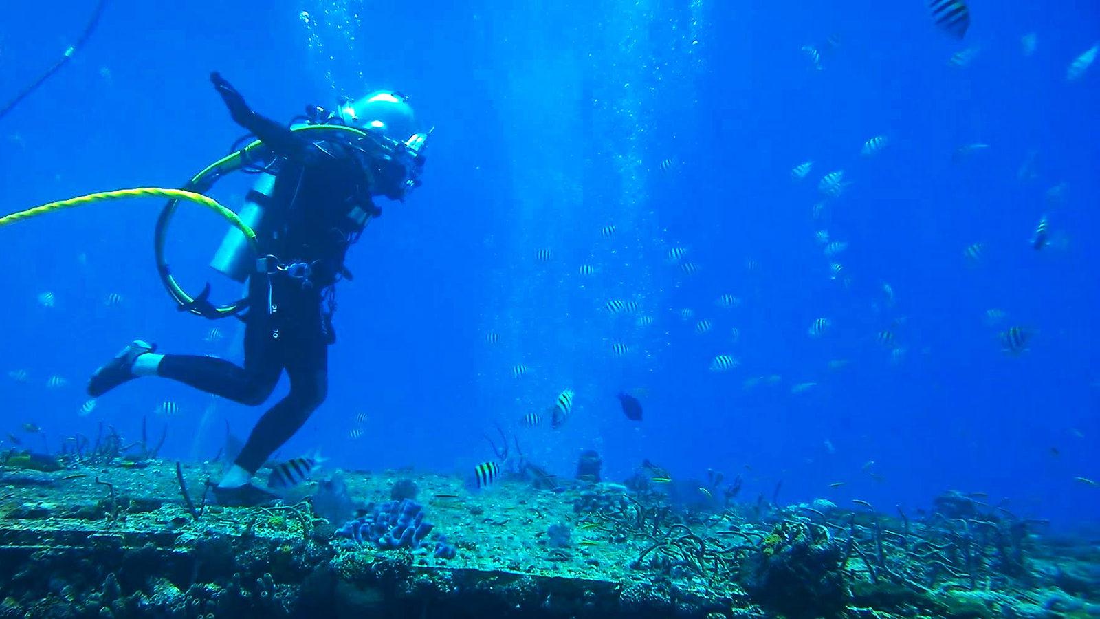 Grace Young walking on the ocean floor