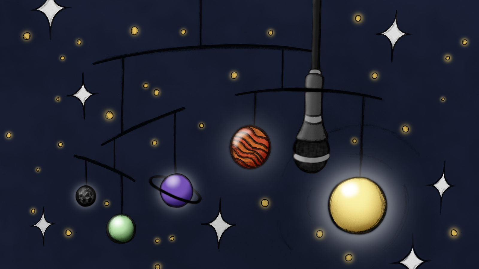 Solar system with microphone mobile with stars in background