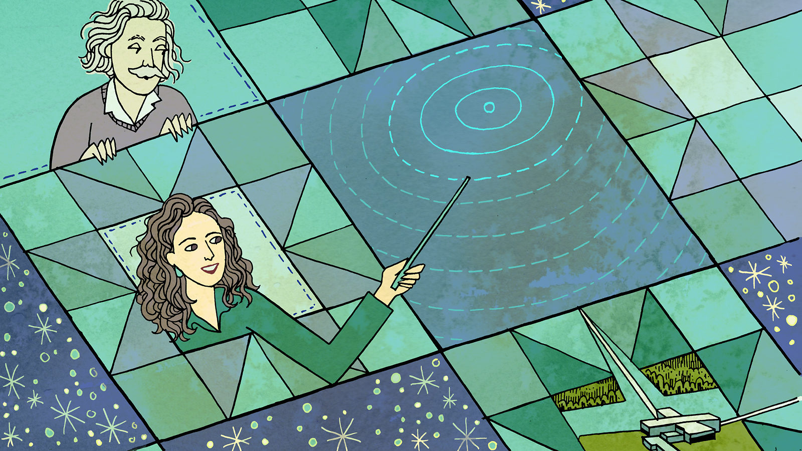 Einstein and woman in game board, she is holding a want and pointing it at concentric circles in space